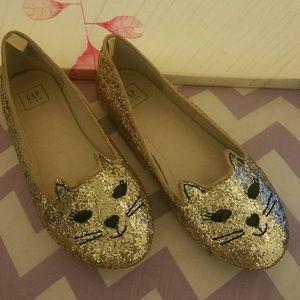 Gap Kids Gold Sparkly Cat Face Shoes Flats